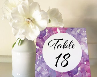 Purple Hydrangea - Table Numbers 1 to 30 Square - DIY Wedding & Printable