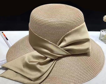 Women's summer straw hat-Straw Hat -sun hat Bowknot is straw hat