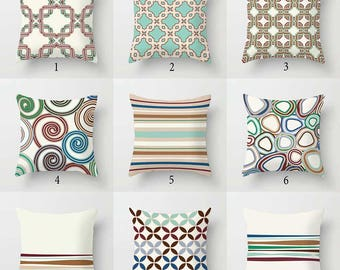 Geometric Pillows, Brown Blue Green Aqua Red Beige Pillow Covers Striped  Pillows Designer Pillows Decorative Part 97