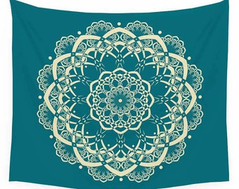 Mandala Tapestry, Wall Tapestries, Teal and Yellow Wall Hanging, Green Tapestry Bohemian Tapestries Boho Decor Large Tapestry, Beach Blanket