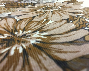 1 yard vintage 70's fabric: 100 x 1, 00 m flowers Brown closet 10