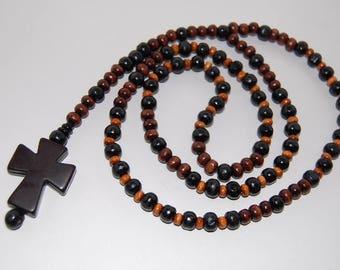 Rosary Necklace,Black Cross Rosary,Wood Beads,Cross Necklace,Crucifix,Jesus,Catholic,Crucifix,Prayer,Spiritual,Man,Woman,Communion Rosary