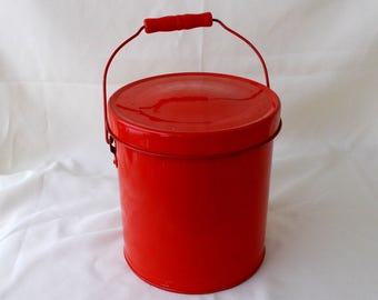 Vintage Red Pail With Wire Handle