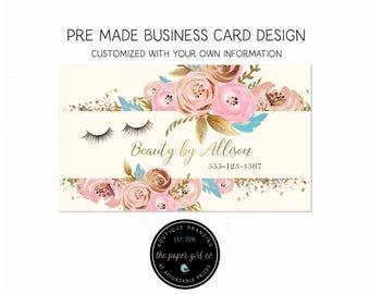 business card design eyelash business card beauty shop business card calling card social card thank you card premade business card