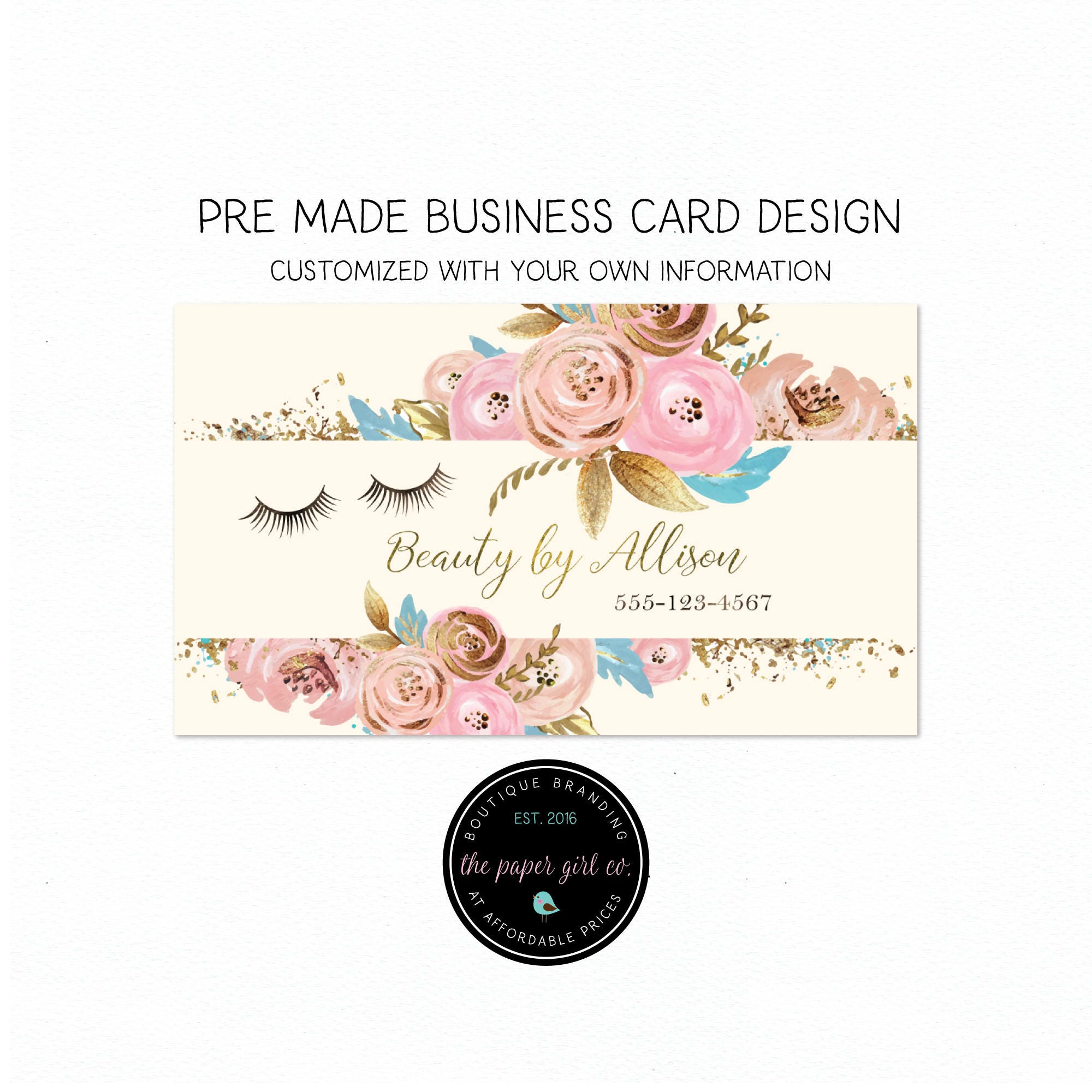 business card design eyelash business card beauty shop