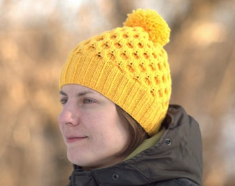 Yellow knitted hat Wool womens beanie Pompon knitted hat Ski knit hat Winter womens hat Honeycomb hat