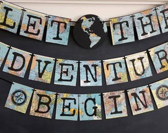 Adventure Banner, adventure theme Travel theme Banner, Retirement party, Bridal shower, baby shower,graduation party, Going Away, PREORDER