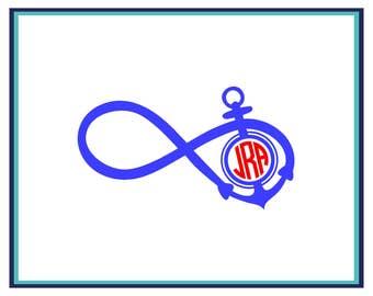 Infinity Monogram Anchor Decal- Anchor Monogram Decal- Infinity Anchor Car Decal- Infinity Anchor Monogram Window Decal