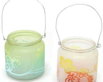 Hanging Votive Tealight Holders. Glass candle holders. - HJG104