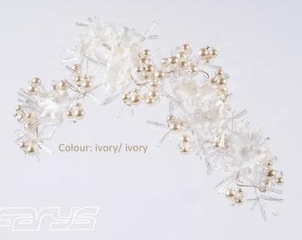Renée hair accessories wedding bride dress beaded ivory flowers