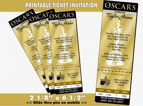 oscar awards party golden ticket invitation by