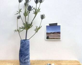 Blue and white marbled bud-vase, coastal chic, ideal Christmas gift