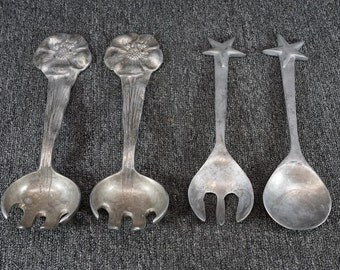 Mariposa Star And Flower Salad Tossers Two Sets 4 Pieces Aluminum c. 1993