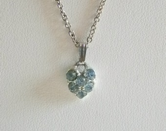Small Silver Tone Baby Blue Crystal Pendant Chain Necklace
