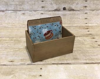 Coffee Recipe Box, Recipe Box With Dividers, Wood Recipe Box, Rustic