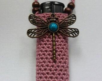 Lilac dragonfly, handmade crochet lightercozy.