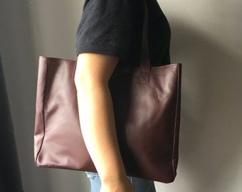 Cognac Leather Shoulder Tote Bag,Handmade genuine leather, Traditional and timeless bag, Leather tote bag,leather shoulder bag, tote