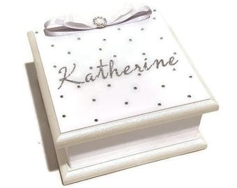 All that Sparkles White & Silver Keepsake Box