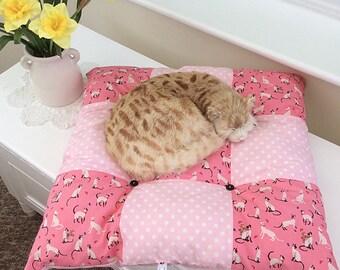 Square Cat cushion / square dog cushion / square cat pillow / pink cotton pet cushion / siamese cushion / washable Pet bed / Scatter Cushion