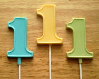 10 Number One Lollipops, First Birthday Lollipops, Choose The Colors
