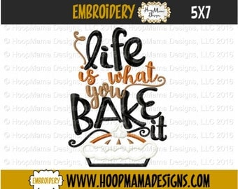 Kitchen Towel Embroidery Design - Life Is What You Bake It - 4x4 5x7 6x10, Kitchen Embroidery Design, Christmas Designs