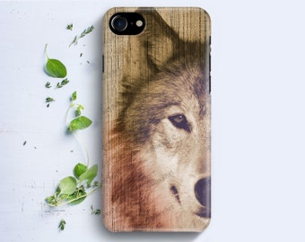 iPhone Case - Wolf on Wood Texture - iPhone 4/4s iPhone 5 iPhone 5c iPhone 5s iPhone 6 iPhone 6 Plus iPhone 6s iPhone SE iPhone 7