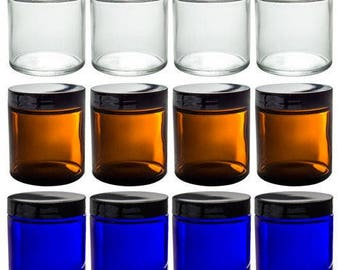 Clear, Cobalt, and Amber Glass Straight Sided Jar Set - 4 oz (12 Pack) Measuring Cup + Labels ***FREE SHIPPING***