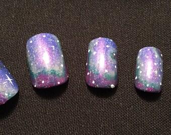 Psycedelic Galaxy False Nail Set