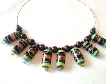 Round neck black and green ethnic