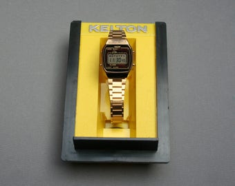 Vintage 1980s LCD quartz digital watch for women, girls, Brand KELTON TIMEX, Gilt metal, Unused New from old stock Nos, French brand