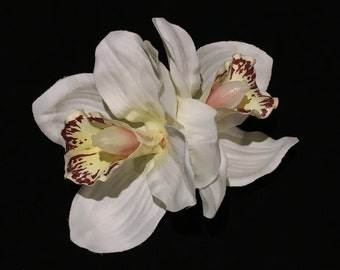 White Double Cymbidium Orchid Pin Up Hair Flower Clip