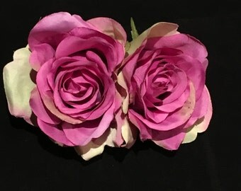 Large Mauve Double Rose Pin Up Hair Flower Clip
