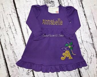 Mardi Gras Toddler Dress - Monogrammed Dress