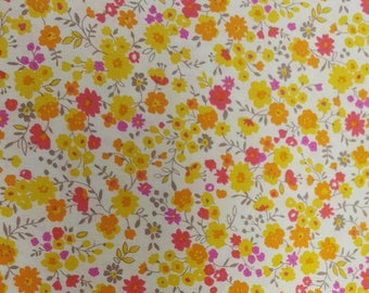 Japanese Floral in Pink & Yellow - Sevenberry fabric Fat Quarters 100% cotton quilting dressmaking UK Shop