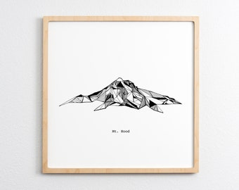 Mount Hood Oregon Polygonal Mountain Drawing - Art Print