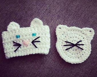 Crochet Kitty Cafe - White Kitty Cozy & Coaster