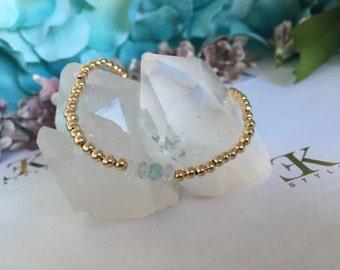 Rainbow Aquamarine Gold Filled Bracelet, Stretch Bracelet, Stack Bracelet
