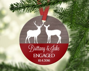Engagement Ornament, Deer Ornament, Personalized Ornament, Personalized Engagement Gift, Our First Christmas, Couples Christmas Ornament