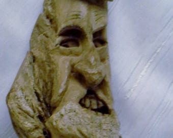 Harnd Carved Cottonwood Wizard Tree Spirit with Frightened Mortal