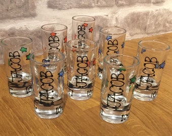 50 custom shot glasses- great as wedding/party favours-hearts or star design