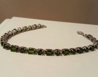 Tennis Bracelet Emerald 925 7in Vintage Sterling Silver