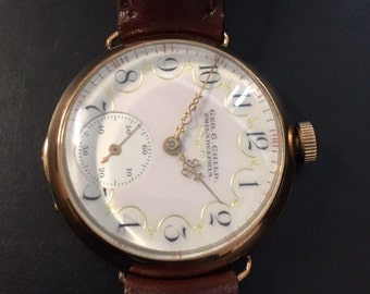 Rare 1899 19 Jewel Elgin Trench Watch, Flawless Porcelain Light Pink Telephone Dial