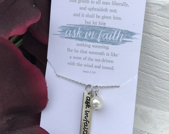 LDS YW Theme 2017 Ask In Faith Necklace with Pearl charm James 1: 5-6 2017 Mutual Theme