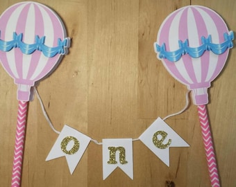 Hot air balloon cake topper/ bunting/one/pink