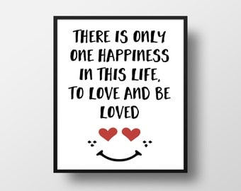 To love and be loved Digital Art Print - Valentines Day Love Wall Art, Valentine Gift Heart Quote Art, Printable Happiness Life Typography