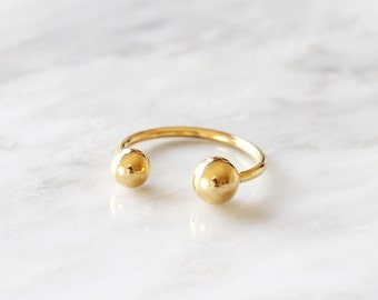 131 - New Gold Double Ball Cuff Stainless Steel Size 5