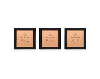 8x8 Picture Frame Set. Three Black 8x8 Frames. Frame 8x8 Instagram Prints or 8x8 Art Prints. Matte Black over Wood.