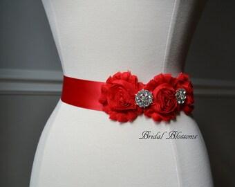 ISLA Red Vintage Inspired Bridal Sash | Shabby Chiffon Flower Wedding Dress Sash | Bridal Belt | Ribbon | Bridesmaids | Frayed Rosettes Rose