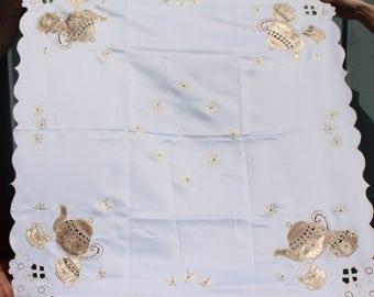 Vintage Square Polyester Embroidered  Tablecloth  Satin Appliques of Teapots/Teacups Flowers-