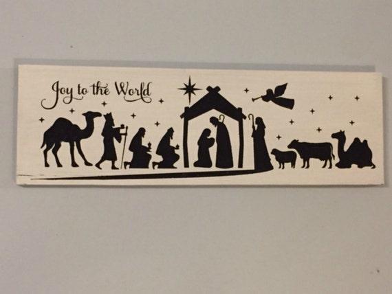 Religious Christmas Wall Decor : Rustic wall decor nativity sign christmas by